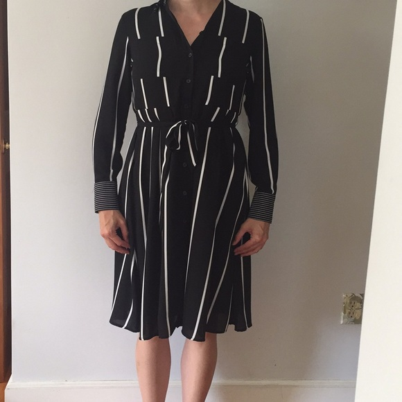 Who What Wear Dresses & Skirts - Black white striped dress w belt. Small. Perfect